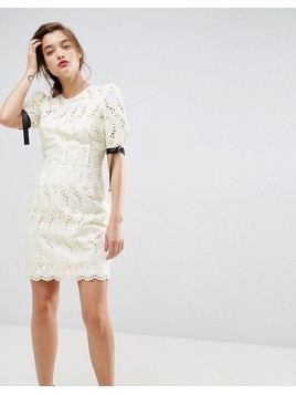 ASOS Puff Sleeve Mini Dress in Broderie - Cream