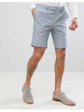 River Island Regular Fit Oxford Shorts In Blue - Navy