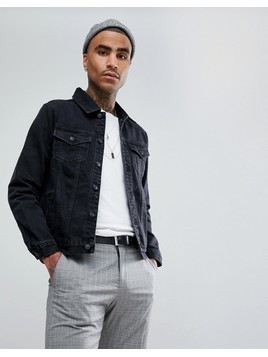 Mennace Denim Jacket In Black - Black