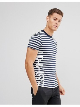 Esprit Recycled T-Shirt With Stripe - Navy