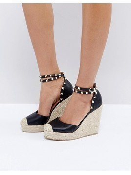 Truffle Collection Studded Ankle Strap Heeled Espadrilles - Black