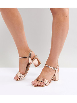 London Rebel Wide Fit Block Heeled Sandals - Gold