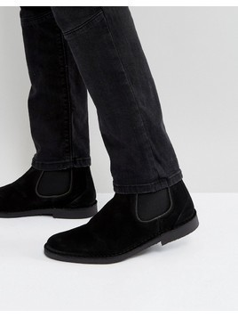 Selected Homme Royce Suede Chelsea Boots In Black - Black