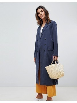 Vila Double Breasted Trench Coat - Navy