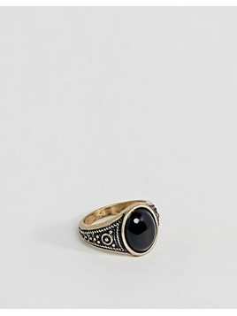 ASOS DESIGN Pinky Ring In Gold With Black Enamel - Gold