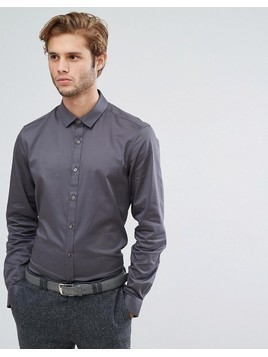 ASOS Wedding Slim Fit Sateen Shirt In Charcoal - Grey