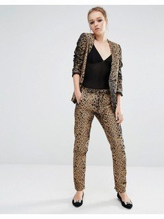 Sister Jane Skinny Trousers In Heart Leopard Print Co-Ord - Gold