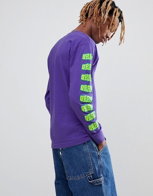 Obey Long Sleeve T-Shirt With Better Days Sleeve Print In Purple - Purple