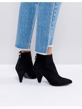 New Look Suedette Cone Heeled Ankle Boot - Black