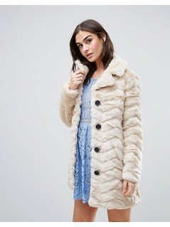 QED London Faux Fur Coat - Cream