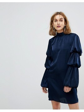 Lost Ink High Neck Shift Dress With Tiered Ruffle Sleeves - Navy