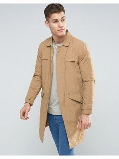 Bershka Lightweight Button Coat In Tan - Tan