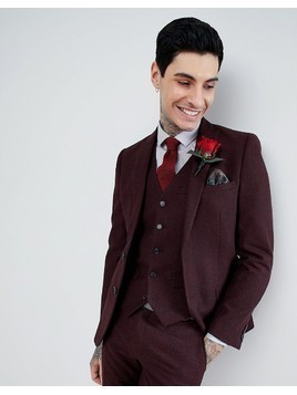 Harry Brown Burgundy Flannel Slim fit Wool Blend Suit Jacket - Red