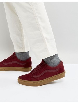 Vans Old Skool Trainers With Gum Sole In Red VA38G1POB - Red