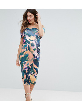 ASOS Maternity Deep Off The Shoulder Midi Bodycon Dress in Tropical Print - Multi