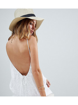 ASOS PETITE Low Back Mini Sundress in Heart Broderie - White