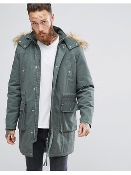 ASOS Heavyweight Parka With Borg Lining And Faux Fur Trim in Khaki - Green