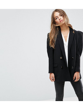 ASOS PETITE Tailored Victoriana Sleeve Mansy Blazer - Black