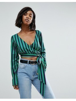 PrettyLittleThing Striped Wrap Blouse - Multi