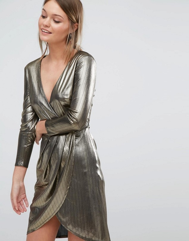 New Look Metallic Wrap Front Dress - Gold