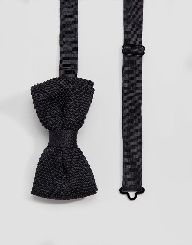 Devils Advocate Black Knitted Bow Tie - Black