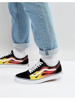 Vans Flame Old Skool Trainers In Black VA38G1PHN - Black