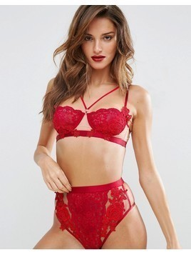 ASOS Juliette Applique Underwire Bra - Red