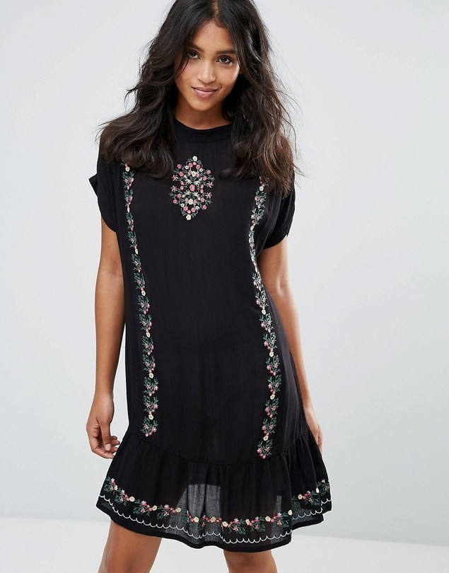 Rage Embroidered Cheese Cloth Dress - Black