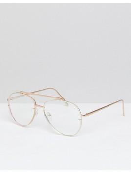 ASOS Aviator Glasses In Brushed Gold With Clear Laid On Lens - Gold
