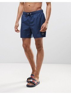 Hollister Guard Swim Shorts Solid Seagull Logo in Navy - Navy