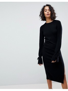 AllSaints Midi Knit Dress with Tie Sleeves - Black