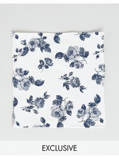Noose&Monkey Floral Pocket Square - White