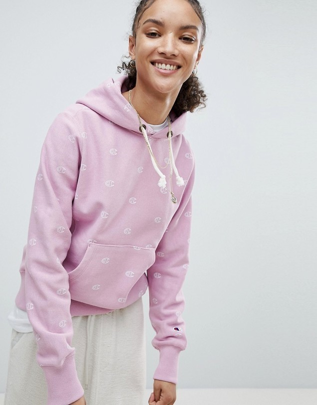 Champion Hoodie With All Over Logo Print - Pink