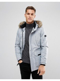 Jack&Jones Parka with Faux Fur Hood - Grey