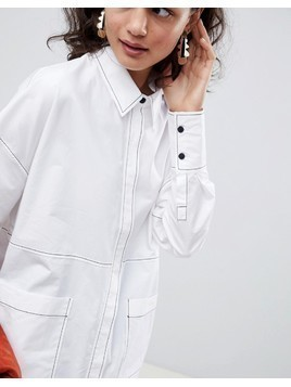 ASOS WHITE oversized shirt with contrast stitching - White
