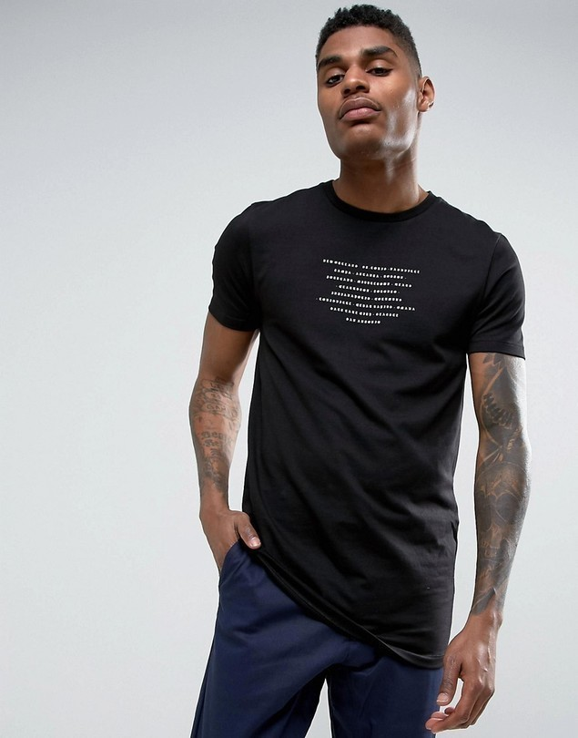 ASOS Longline Muscle with T-Shirt with Text Print in Black - Black