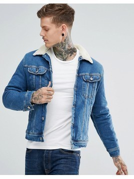 Lee Sherpa Rider Denim Jacket Mid Wash - Blue