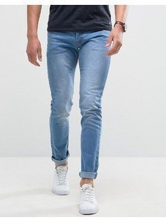Loyalty and Faith Skinny Fit Jeans with Light Abbrasions in Light Wash - Blue