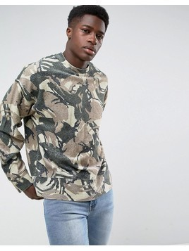 Weekday Kyle Camo Sweatshirt - Green