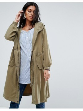 To Be Adored Irmena Parka with I Don't Believe Embroidered Back - Green