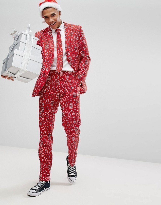 OppoSuits Suit + Tie In Xmas Print - Red