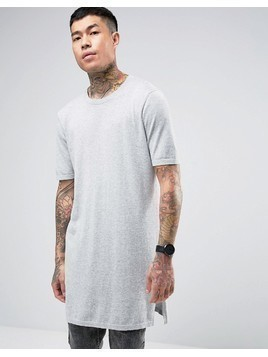 ASOS Extreme Longline Knitted T-shirt with Side Splits - Grey