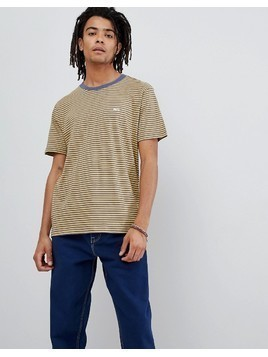Obey Apex Striped T-Shirt With Small Logo In Yellow - Yellow