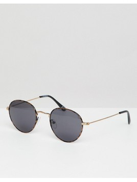 ASOS DESIGN round sunglasses in tort with smoke lens - Brown