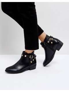 Truffle Collection Stud Strap Low Boot - Black