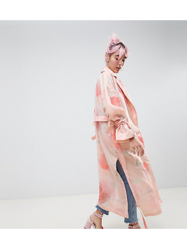 Hello Kitty x ASOS DESIGN trench duster coat In floral print - Pink