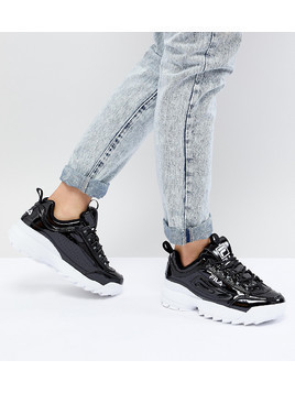 Fila Disruptor Trainers In Patent Black - Black