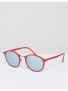 Ray Ban Round Sunglasses - Red