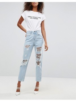 ASOS ORIGINAL MOM Jeans in Dex Aged Wash with Rips and Busts - Blue