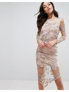 River Island Embroidered Lace Hanky Hem Dress - Beige